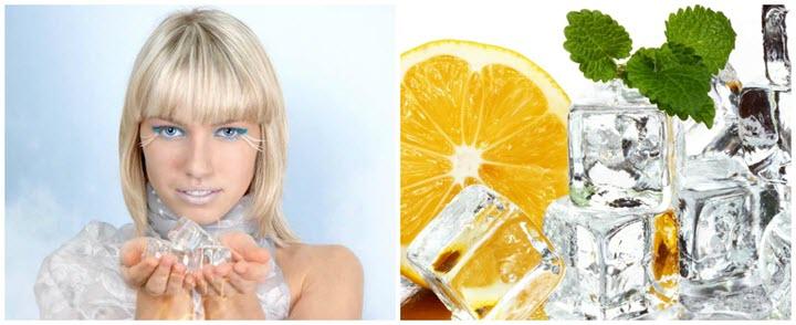 Лед - профилактическое средство от мешков под глазами